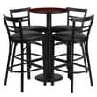 Flash Furniture 24'' Round Mahogany Laminate Table Set with Round Base and 4 Ladder Back Metal Bar Stools, Black Vinyl Seat