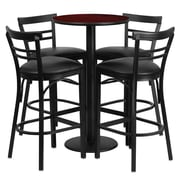Flash Furniture 24'' Round Mahogany Laminate Table Set with Round Base and 4 Ladder Back Metal Bar Stools, Black Vinyl Seat