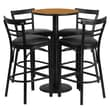 Flash Furniture 24'' Round Table Set W/4 Ladder Back Bar Stools, Natural/Black