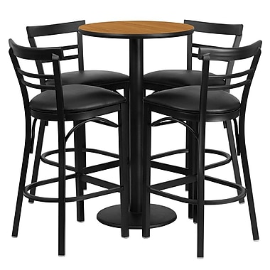 Flash Furniture 24'' Round Natural Laminate Table Set with Round Base and 4 Ladder Back Metal Bar Stools, Black Vinyl Seat
