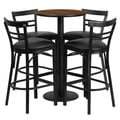 Flash Furniture 24'' Round Table Set W/4 Ladder Back Bar Stools, Walnut/Black