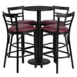 Flash Furniture 24'' Round Table Set W/4 Ladder Back Bar Stools, Black/Burgundy