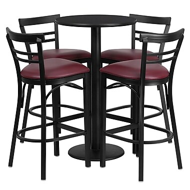 Flash Furniture 24'' Round Black Laminate Table Set with Round Base and 4 Ladder Back Metal Bar Stools, Burgundy Vinyl Seat