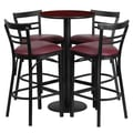 Flash Furniture 24'' Round Mahogany Laminate Table Set with Round Base and 4 Ladder Back Metal Bar Stools, Burgundy Vinyl Seat