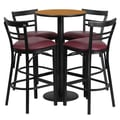 Flash Furniture 24'' Round Natural Laminate Table Set with Round Base and 4 Ladder Back Metal Bar Stools, Burgundy Vinyl Seat