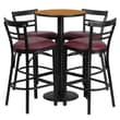 Flash Furniture 24'' Round Table Set W/4 Ladder Back Bar Stools, Natural/Burgundy