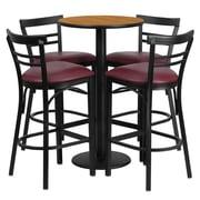 Flash Furniture 24'' Round Natural Laminate Table Set with Round Base and 4 Ladder Back Metal Bar Stools, Burgundy Vinyl Seat