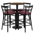 Flash Furniture 24'' Round Walnut Laminate Table Set with Round Base and 4 Ladder Back Metal Bar Stools, Burgundy Vinyl Seat