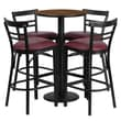 Flash Furniture 24'' Round Table Set W/4 Ladder Back Bar Stools, Walnut/Burgundy