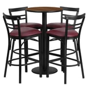 Flash Furniture 24'' Round Walnut Laminate Table Set with Round Base and 4 Ladder Back Metal Bar Stools, Burgundy Vinyl Seat
