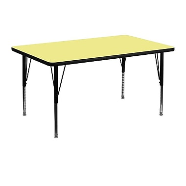 Flash Furniture 30''W x 48''L Rectangle Activity Table with Thermal Fused Top and Height Adjustable Pre-School Legs, Yellow