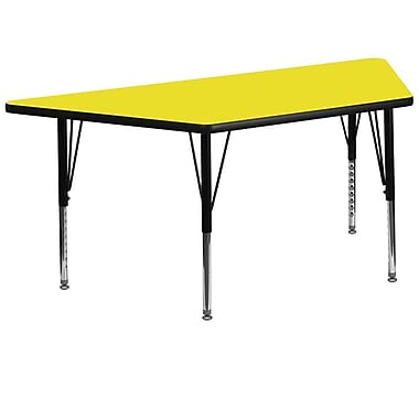 Flash Furniture 30''W x 60''L Trapezoid Activity Table with 1.25'' High Pressure Top and Adjustable Pre-School Legs, Yellow