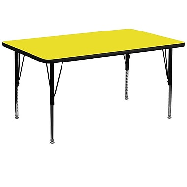 Flash Furniture 36''W x 72''L Rectangle Activity Table with 1.25'' High Pressure Top and Adjustable Pre-School Legs, Yellow