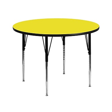 Flash Furniture 42'' Round Activity Table with 1.25'' High Pressure Top and Standard Height Adjustable Legs, Yellow