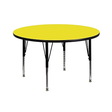 Flash Furniture 42'' Round Activity Table with 1.25'' High Pressure Top and Height Adjustable Pre-School Legs, Yellow