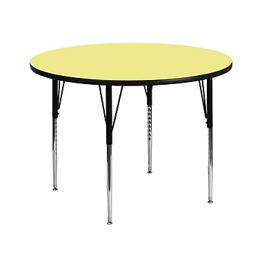 Flash Furniture 42'' Round Activity Table with Thermal Fused Laminate Top and Standard Height Adjustable Legs, Yellow