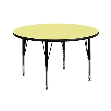 Flash Furniture 42'' Round Activity Table with Thermal Fused Laminate Top and Height Adjustable Pre-School Legs, Yellow