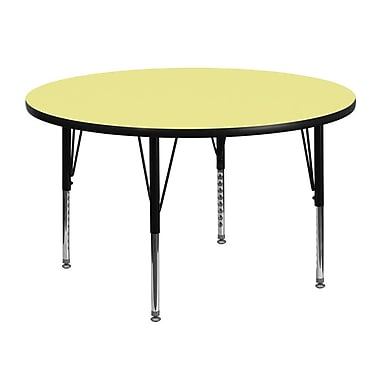 Flash Furniture 48'' Round Activity Table with Thermal Fused Laminate Top and Height Adjustable Pre-School Legs, Yellow