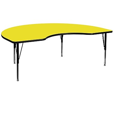 Flash Furniture 48''W x 96''L Kidney Shaped Activity Table with 1.25'' High Pressure Top and Adjustable Pre-School Legs, Yellow