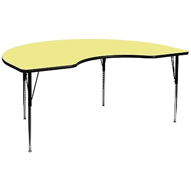Flash Furniture 48''W x 96''L Kidney Shaped Activity Table with Thermal Fused Top and Standard Height Adjustable Legs, Yellow