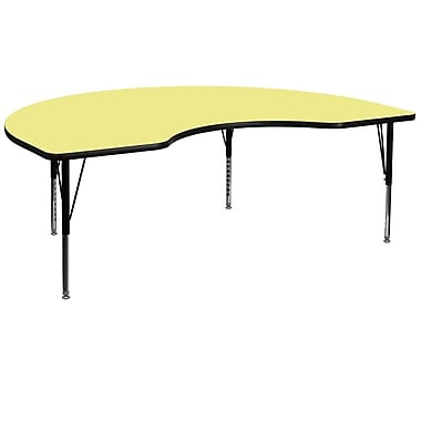 Flash Furniture 48''W x 96''L Kidney Shaped Activity Table with Thermal Fused Top and Height Adjustable Pre-School Legs, Yellow