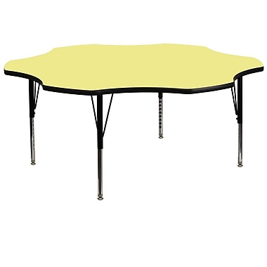 Flash Furniture 60'' Flower Shaped Activity Table with Thermal Fused Laminate Top and Height Adjustable Pre-School Legs, Yellow