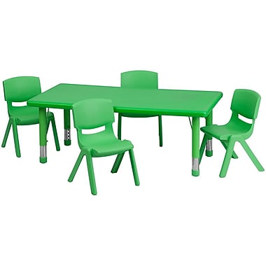 Flash Furniture 24''W x 48''L Adjustable Rectangular Plastic Activity Table Set with 4 School Stack Chairs, Green