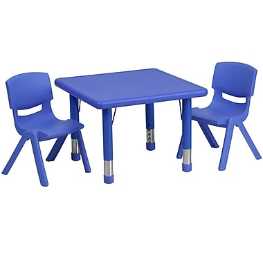 Flash Furniture 24'' Square Adjustable Plastic Activity Table Set with 2 School Stack Chairs, Blue