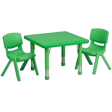 Flash Furniture 24in. Square Adjustable Plastic Activity Table Set W/2 School Stack Chairs, Green