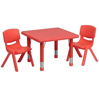 Flash Furniture 24in. Square Adjustable Plastic Activity Table Set W/2 School Stack Chairs, Red