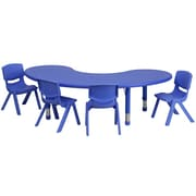 Flash Furniture 35''W x 65''L Adjustable Half-Moon Plastic Activity Table Set with 4 School Stack Chairs, Blue