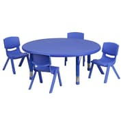 Flash Furniture 45'' Round Adjustable Plastic Activity Table Set with 4 School Stack Chairs, Blue