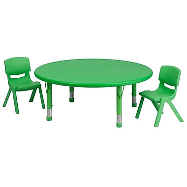 Flash Furniture 45'' Round Adjustable Plastic Activity Table Set with 2 School Stack Chairs, Green