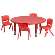 Flash Furniture 45'' Round Adjustable Plastic Activity Table Set with 4 School Stack Chairs, Red