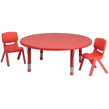Flash Furniture 45'' Round Adjustable Plastic Activity Table Set with 2 School Stack Chairs, Red