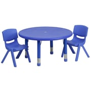 Flash Furniture 33'' Round Adjustable Plastic Activity Table Set with 2 School Stack Chairs, Blue