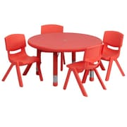 Flash Furniture 33'' Round Adjustable Plastic Activity Table Set with 4 School Stack Chairs, Red