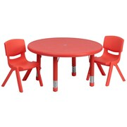 Flash Furniture 33'' Round Adjustable Plastic Activity Table Set with 2 School Stack Chairs, Red