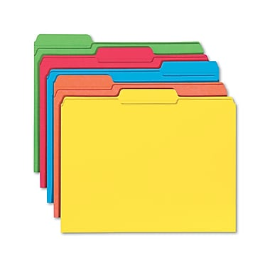 Smead® Letter 1/3 Cut Recycled Reinforced File Folder w/ 3/4in. Expansion, Assorted, 100/Pack