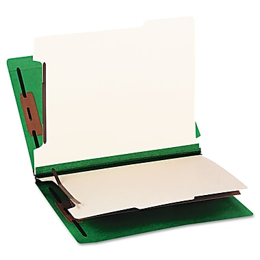 Smead® Letter 2 Divider Recycled Classification Folder w/2in. Expansion, Green, 10/Pack