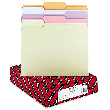 Smead® Letter 1/3 Cut Recycled File Folder w/ 3/4in. Expansion, Assorted, 100/Pack