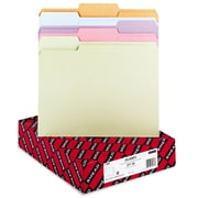 "Smead® Letter 1/3 Cut Recycled File Folder w/ 3/4"" Expansion, Assorted, 100/Pack"