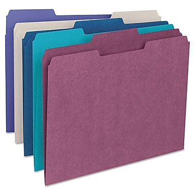 Smead® Letter Recycled 1/3 Cut File Folder w/ 3/4in. Expansion, Assorted, 100/Pack