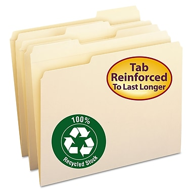 Smead® Letter 1/3 Cut Recycled Reinforced File Folder w/ 3/4in. Expansion, Manila, 100/Pack