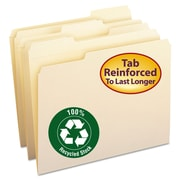 Smead® Letter 1/3 Cut Recycled Reinforced File Folder w/ 3/4 Expansion, Manila, 100/Pack