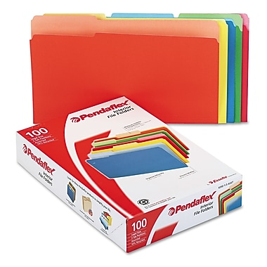 Esselte® Pendaflex® Legal Recycled 1/3 Cut File Folder w/ 3/4in. Expansion, Assorted, 100/Pack