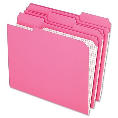Esselte® Letter 1/3 Cut Recycled File Folder, Pink, 100/Pack