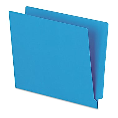 Esselte® Letter Straight Cut End Tab File Folder w/3/4in. Expansion, Blue, 100/Pack