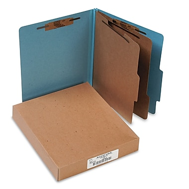 Acco® 2 Divider Recycled Classification Folder with 3in. Expansion, Letter Size, Blue, 10/Box