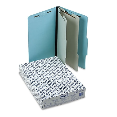 Esselte® Legal 2 Divider 2/3 Cut Recycled Classification Folder, 2in. Expansion, Blue, 10/Pack